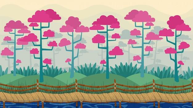Vector parallaxe hintergrund frühlingslandschaft mit nebel blühenden bäumen und holz nahtlose brücke