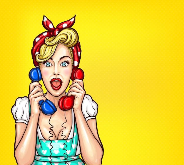 Vector pop art illustration einer aufgeregt überrascht blonde frau mit einem zwei telefonhörer in der hand.