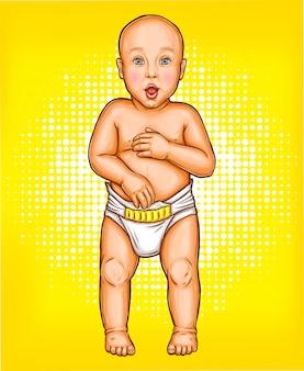 Vector pop art illustration eines überrascht baby mit offenem mund in einer windel