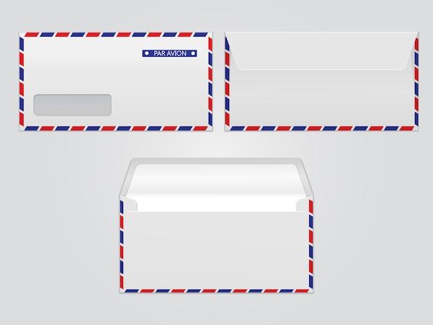 Vector postumschlag par avion. leere papierumschläge für ihr design. vector umschläge vorlage.