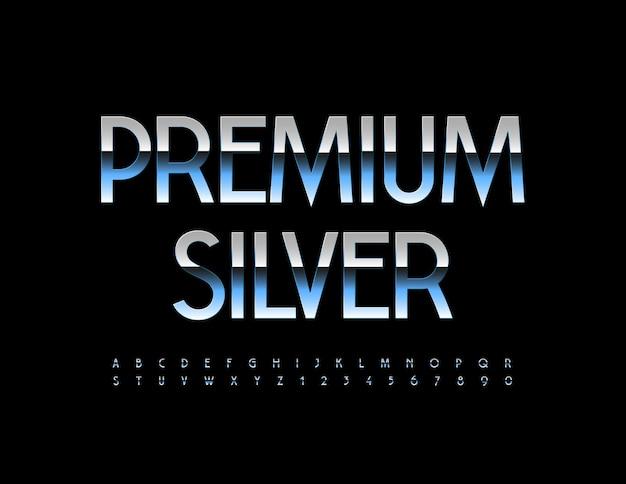 Vector premium silver alphabet buchstaben und zahlen gesetzt elegante metallische schriftart