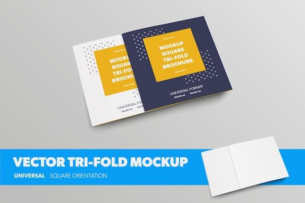 Vector quadratische broschürenvorlage, vorder- und rückansicht, geschlossen dreifach gefaltet, für die designpräsentation. leere broschüre des modells mit realistischen schatten einzeln auf hintergrund. reihe von geschäftsbroschüren
