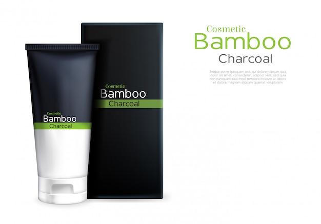 Vector realistische creme 3d im rohrpaket, in der luxuxkosmetik mit bambus und holzkohle.