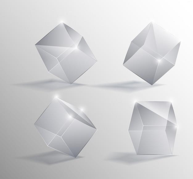 Vector realistische darstellung eines transparenten glaswürfel in verschiedenen positionen
