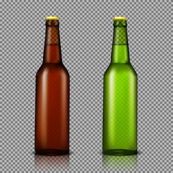 Vector realistische darstellung satz von transparenten glasflaschen mit getränken, bereit für branding