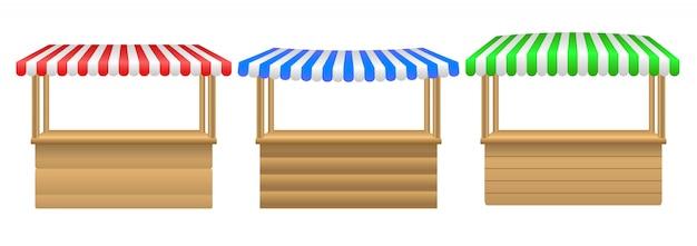Vector realistische illustration des leeren marktstalles mit der roten und weißen gestreiften lokalisierten markise