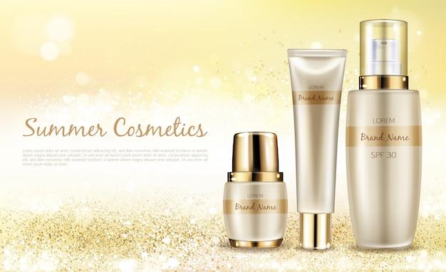 Vector realistischen kosmetischen hintergrund, promofahne für sommer-spf kosmetik.