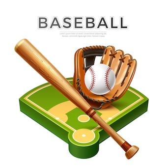 Vector realistischer baseballschläger-lederhandschuh und -ball am spielplatz für meisterschaftsentwurf