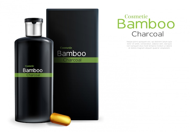 Vector realistisches paket 3d mit shampoo, kosmetik mit bambus und holzkohle.