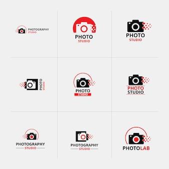Vector red und black icons für fotografen 9