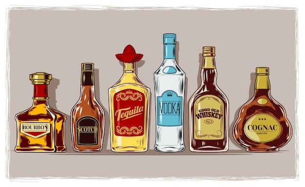 Vector reihe von flaschen mit alkohol und stemware