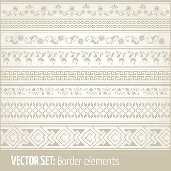 Vector reihe von rand-elemente und seite dekoration elemente. rahmendekoration elemente muster. ethnische grenzen vektor illustrationen.