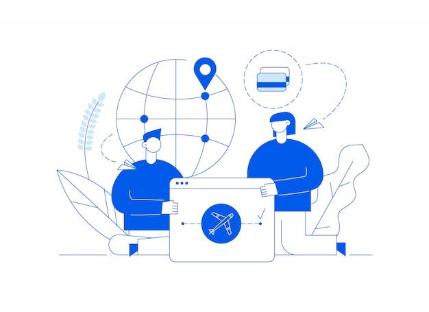 Vector reiseillustration mit den großen modernen leuten, mann und frau, die auf der ganzen welt reisen.