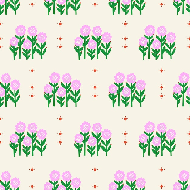 Vector retro kleine sonnenblumenblume illustration nahtlose wiederholungsmuster digitale kunstwerke wohnkultur