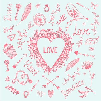 Vector romantische illustrationssatz, gezeichnete sammlung der liebe weinlese hand. herz, pfeile, wirbel, blumenvogel