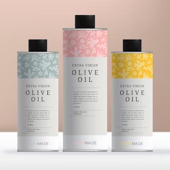 Vector runde blechdose oder flaschenverpackung für olivenölprodukte mit minimalem blumenmuster