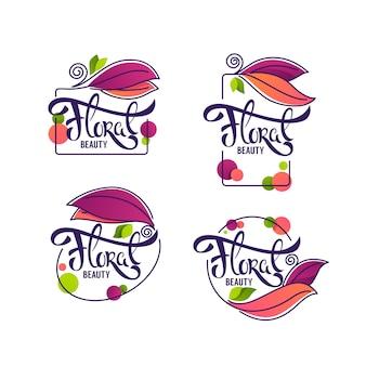Vector sammlung gekritzelblumenemblemrahmen und -logo mit blumenschönheitsbeschriftungszusammensetzung