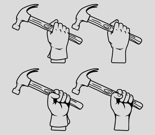 Vector sammlungslinie kunst der hand hammer halten