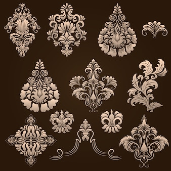 Vector satz von damast ornamentalen elemente. elegante florale abstrakte elemente für design. perfekt für einladungen, karten etc.