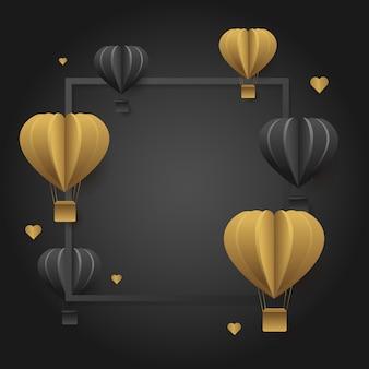 Vector schablonenquadratrahmen der fahne des luxusvalentinsgrußes, mit gold und schwarzen ballonen.