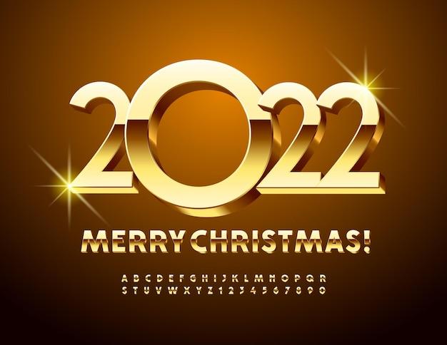 Vector schicke grußkarte frohe weihnachten 2022 3d gold alphabet buchstaben und zahlen set