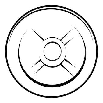 Vector schwarz-weiß-hantelplatte, isoliert auf weiß