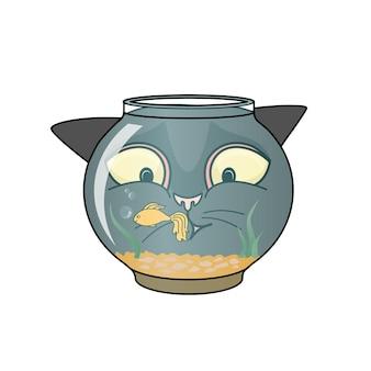 Vector schwarze katze, die einen goldfisch in einem aquarium beobachtet. lupe.