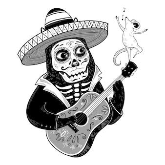 Vector schwarze katze in einem sombrero mit gitarre und singender maus. tag der toten oder 'día de muertos'. süße illustration für poster, karten, design, druck