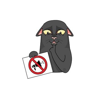 Vector schwarze katze mit einem schild und bittet um stille.