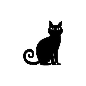 Vector schwarze silhouette einer sitzenden katze. handgezeichnete krähe. zeichen halloween. vektor-illustration