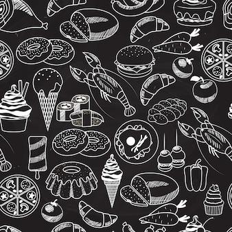 Vector seamless food auf tafel für tapeten. am häufigsten in restaurants designs verwendet.