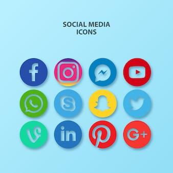 Vector set design der beliebtesten social media icons
