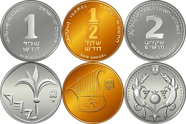 Vector set rückseite und vorderseite israelische silbergeld ein, zwei und halbe schekel-münzen
