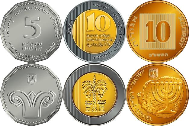 Vector set rückseite und vorderseite israelisches silbergeld fünf und zehn schekel und zehn agorot-münzen