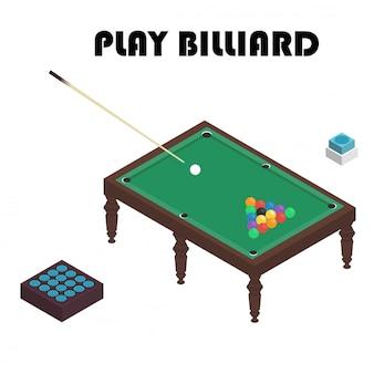 Vector snooker-billardtisch der illustration realistischen mit satz billardkugeln und stichwort.