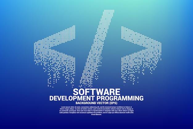 Vector softwareentwicklungs-tagikone mit quadratischem punktpixel