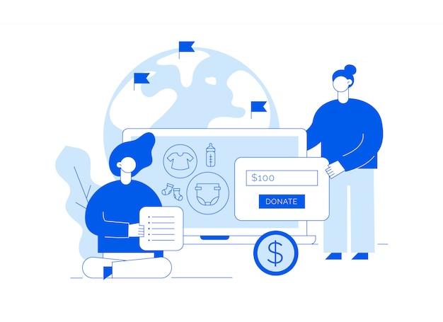Vector spendendienstillustration mit großen leuten, herz, erde und erbieten frauen freiwillig