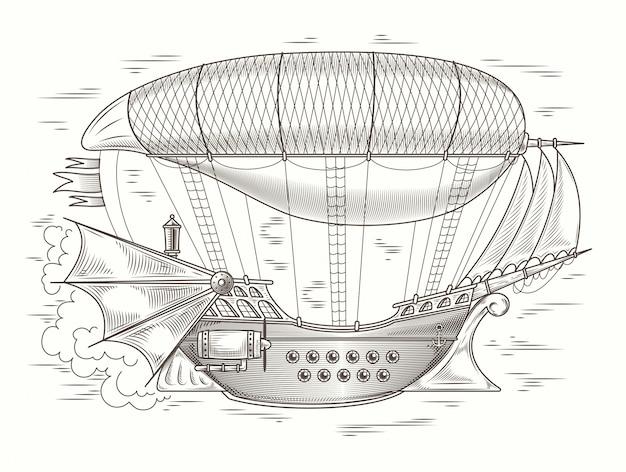 Vector steampunk illustration eines fantastischen hölzernen flyinprint, vorlage, design-element