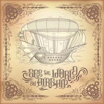 Vector steampunk poster, illustration eines fantastischen hölzernen fliegenden schiff