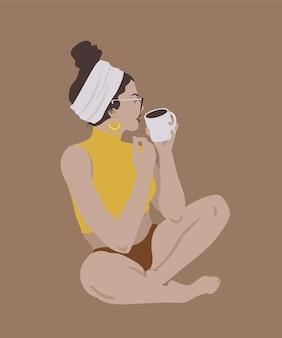 Vector stilvolle hübsche frau, die flache illustration der mode mit mädchen und tasse kaffee sitzt