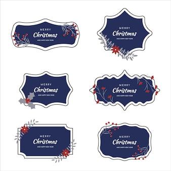 Vector striped christmas frame set perfekt für urlaubseinladungen oder ankündigungen