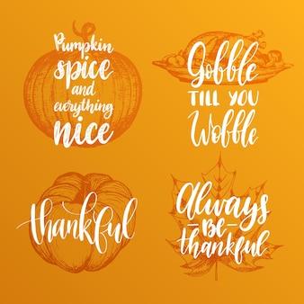 Vector thanksgiving-schriftzug mit illustrationen für einladungen oder festliche grußkarten. handgeschriebenes kalligraphie-set von gobble till you wobble, happy fall etc.