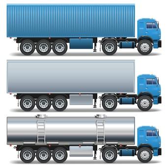 Vector trailer icons set 2 isoliert auf weißem hintergrund