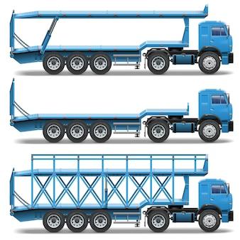 Vector trailer icons set 3 isoliert auf weißem hintergrund