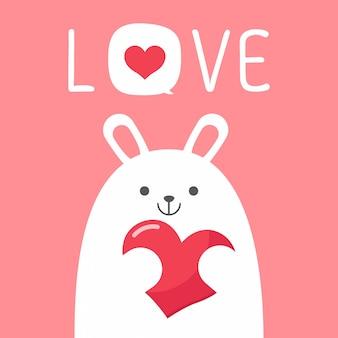 Vector valentinstagskarte mit kaninchenhase
