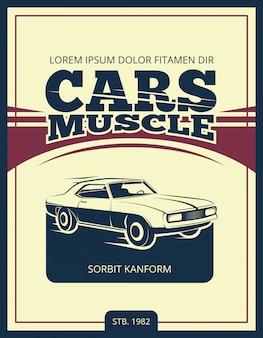 Vector vintage poster mit retro-auto 70er jahre