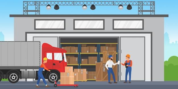 Vector warehouse-mitarbeiter arrangieren waren in den regalen. lageraußengebäude mit lastwagen.