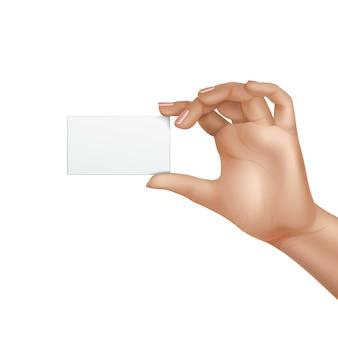 Vector weibliche hand, die leere karte hält isoliert