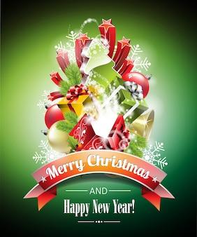 Vector weihnachtsillustration mit magischen geschenkboxen und glänzenden feiertagselementen auf grünem hintergrund.