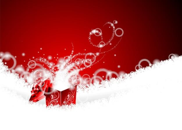 Vector weihnachtsillustration mit magischer geschenkbox auf schneeflocken.
